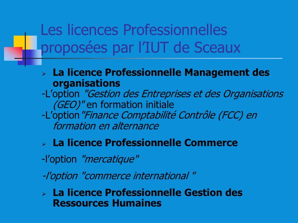 Les licences Professionnelles proposées par lIUT de Sceaux La licence Professionnelle Management des organisations -Loption