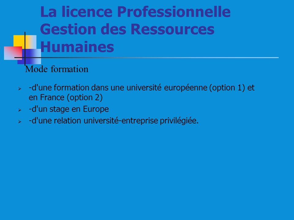 La licence Professionnelle Gestion des Ressources Humaines -d une formation dans une université européenne (option 1) et en France (option 2) -d un stage en Europe -d une relation université-entreprise privilégiée.
