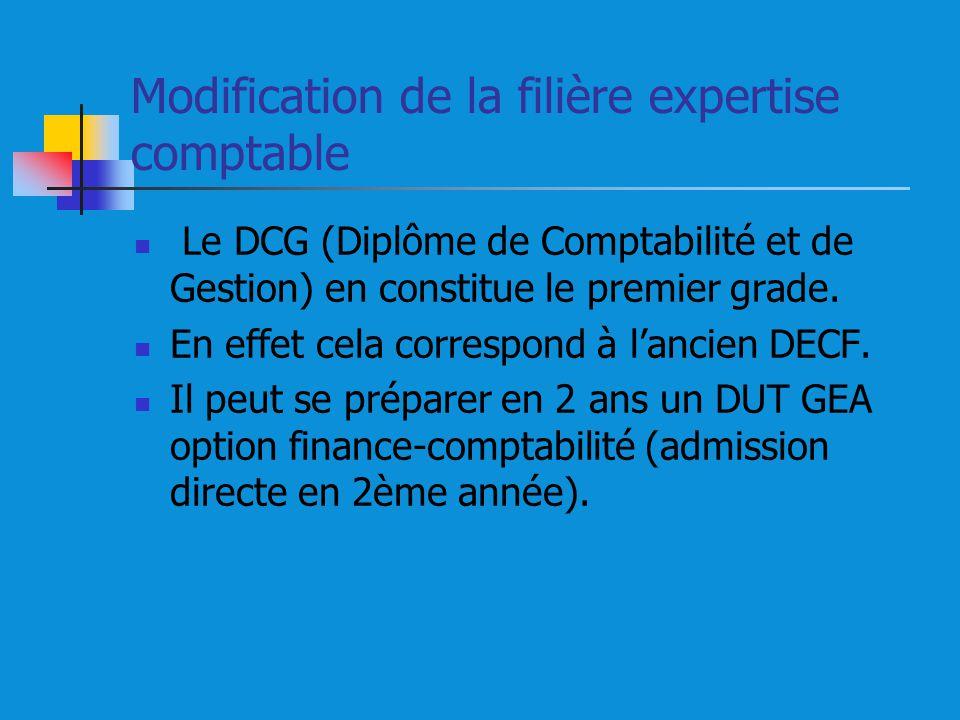 Modification de la filière expertise comptable Le DCG (Diplôme de Comptabilité et de Gestion) en constitue le premier grade. En effet cela correspond