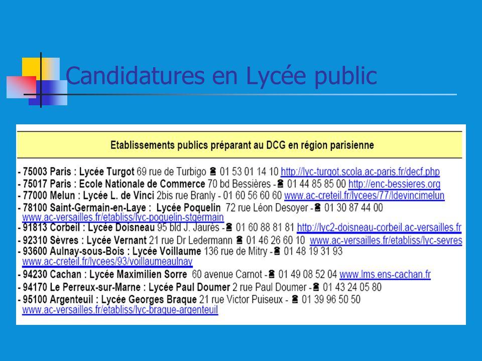 Candidatures en Lycée public