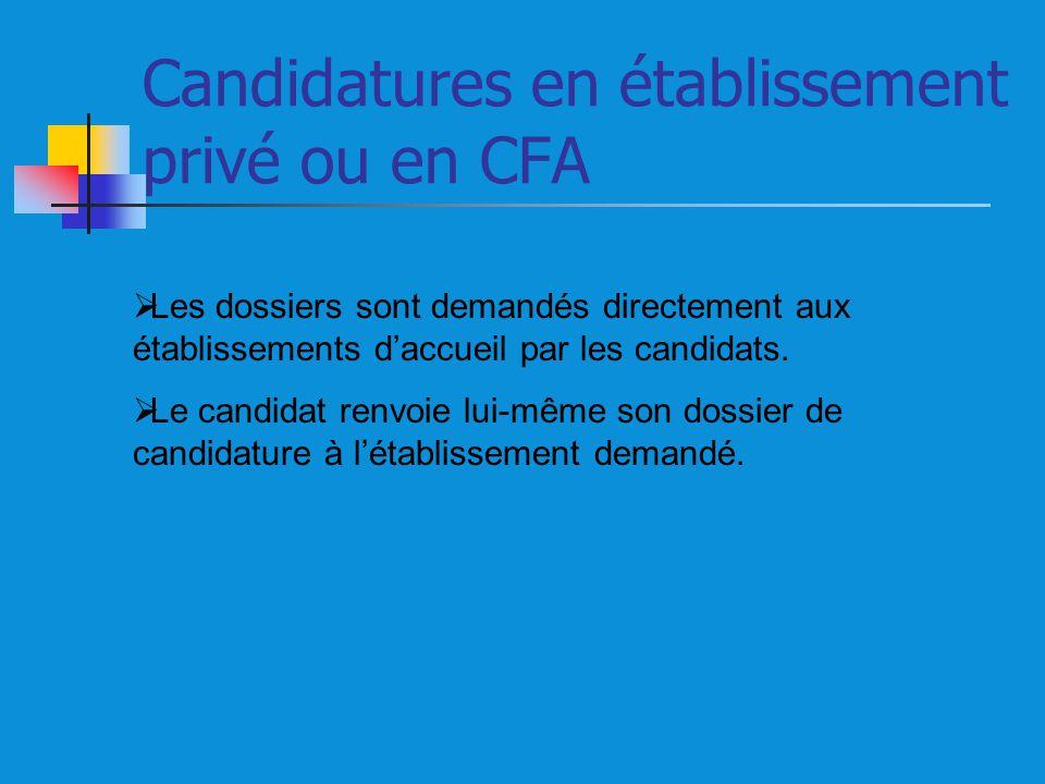 Candidatures en établissement privé ou en CFA Les dossiers sont demandés directement aux établissements daccueil par les candidats. Le candidat renvoi