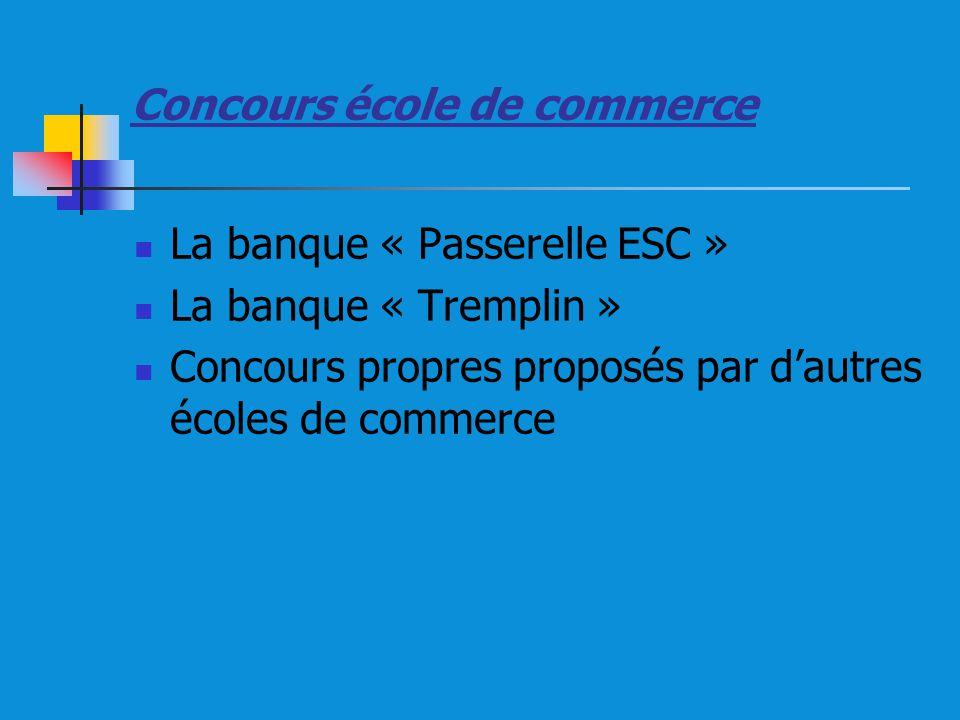 Concours école de commerce La banque « Passerelle ESC » La banque « Tremplin » Concours propres proposés par dautres écoles de commerce
