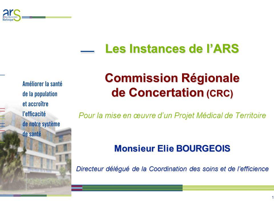 1 Les Instances de lARS Commission Régionale de Concertation (CRC) Monsieur Elie BOURGEOIS Directeur délégué de la Coordination des soins et de leffic