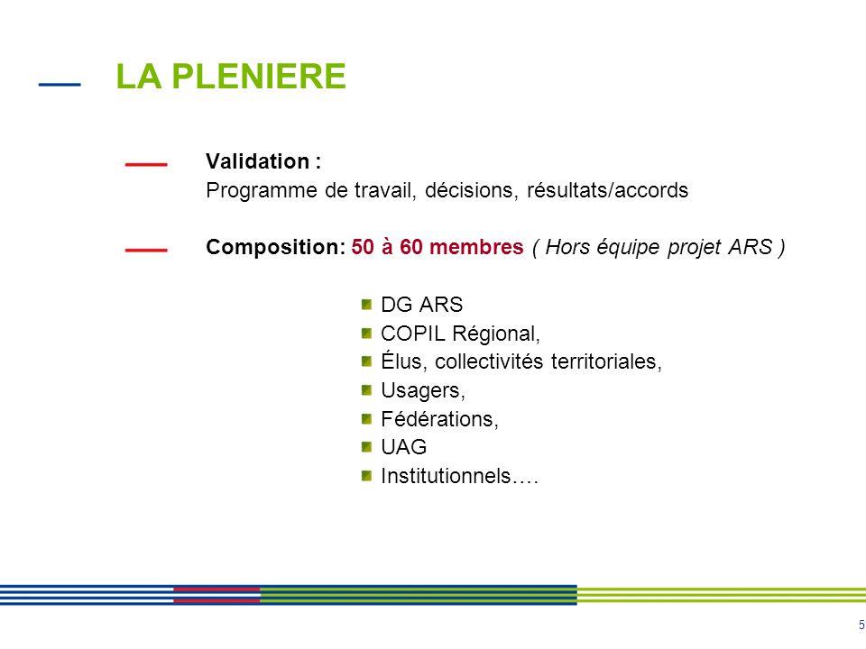 5 LA PLENIERE Validation : Programme de travail, décisions, résultats/accords Composition: 50 à 60 membres ( Hors équipe projet ARS ) DG ARS COPIL Rég