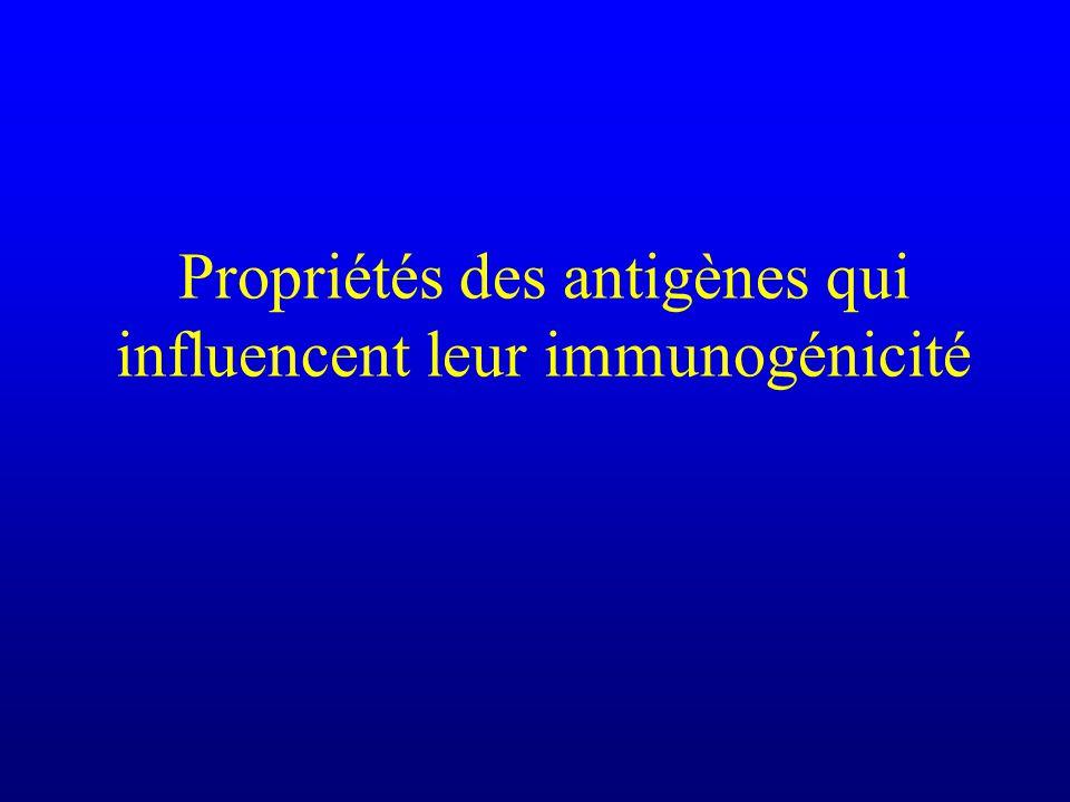 Propriétés des antigènes qui influencent leur immunogénicité