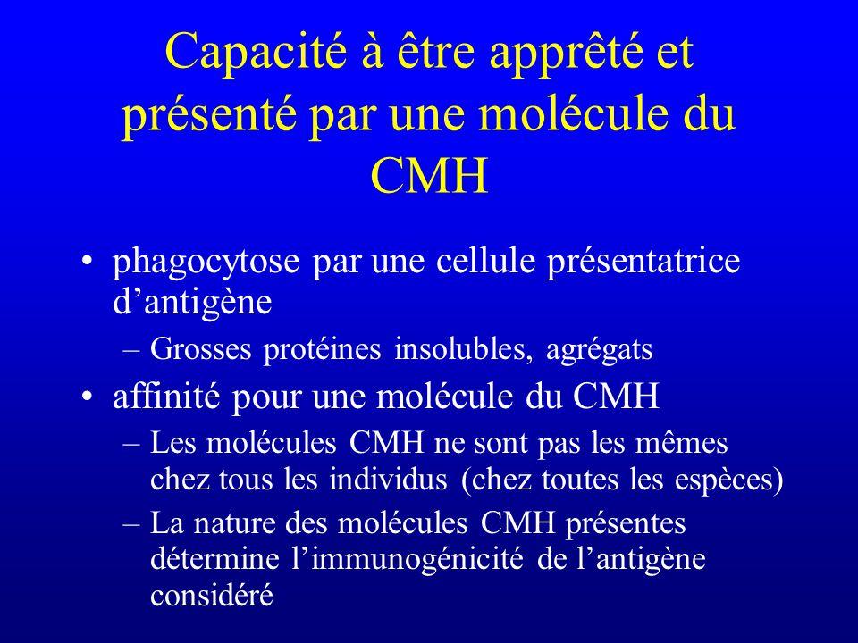 Capacité à être apprêté et présenté par une molécule du CMH phagocytose par une cellule présentatrice dantigène –Grosses protéines insolubles, agrégats affinité pour une molécule du CMH –Les molécules CMH ne sont pas les mêmes chez tous les individus (chez toutes les espèces) –La nature des molécules CMH présentes détermine limmunogénicité de lantigène considéré