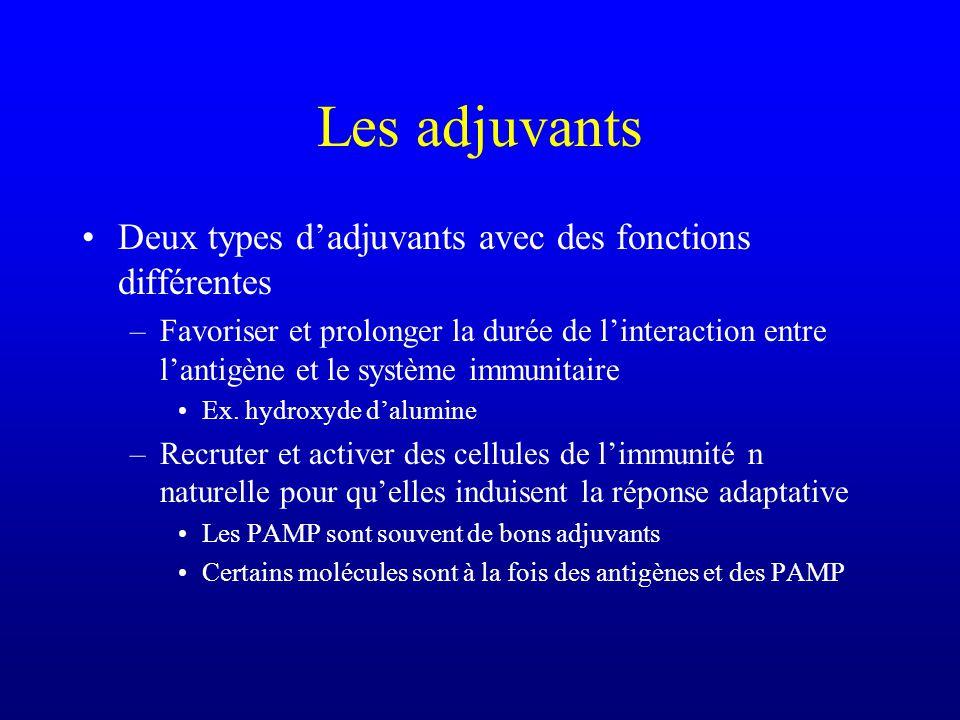 Les adjuvants Deux types dadjuvants avec des fonctions différentes –Favoriser et prolonger la durée de linteraction entre lantigène et le système immunitaire Ex.