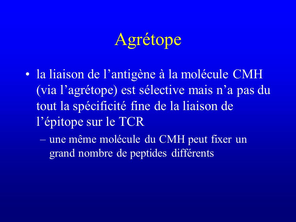 la liaison de lantigène à la molécule CMH (via lagrétope) est sélective mais na pas du tout la spécificité fine de la liaison de lépitope sur le TCR –une même molécule du CMH peut fixer un grand nombre de peptides différents