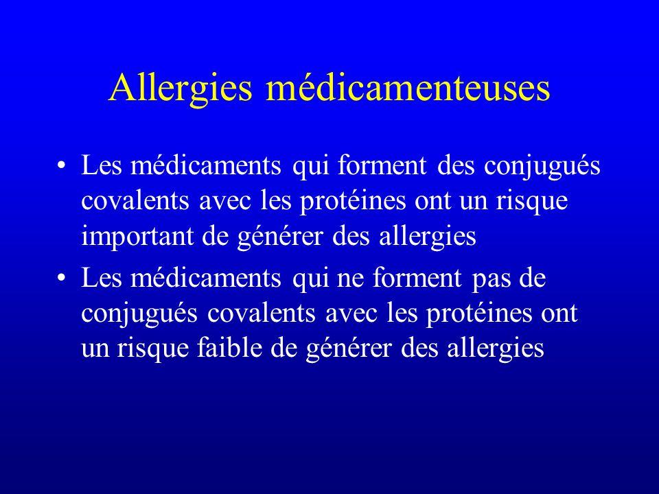 Allergies médicamenteuses Les médicaments qui forment des conjugués covalents avec les protéines ont un risque important de générer des allergies Les médicaments qui ne forment pas de conjugués covalents avec les protéines ont un risque faible de générer des allergies