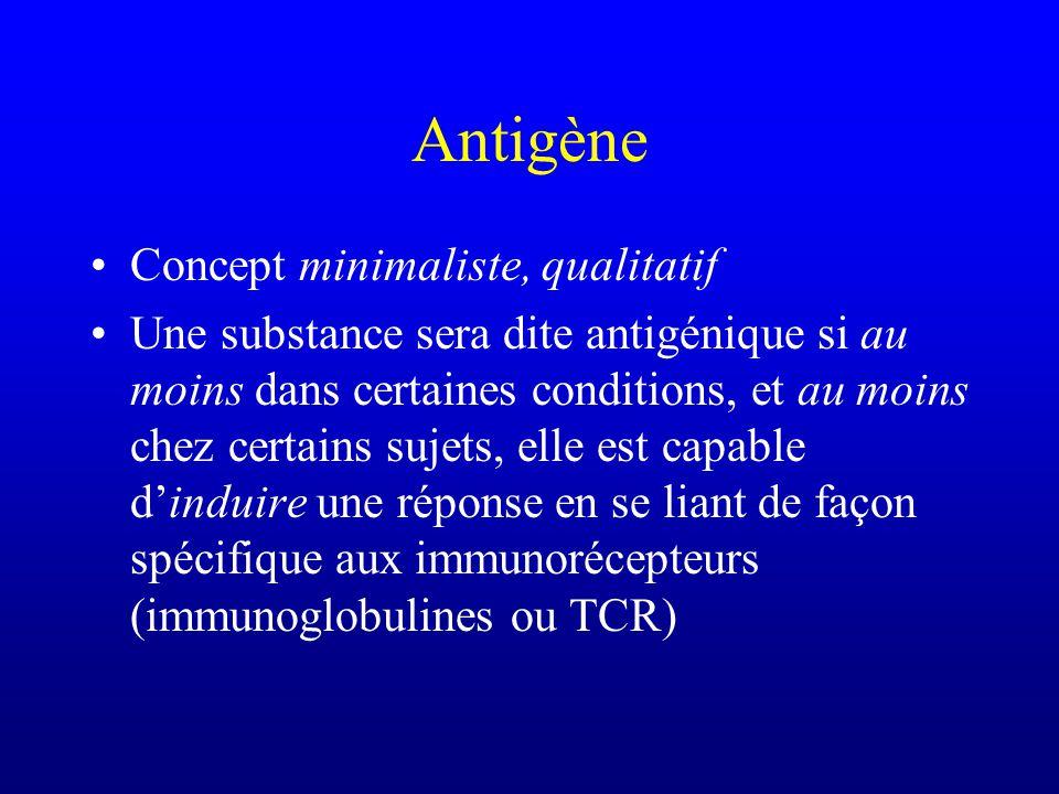 Antigène Donc on peut parler de linjection dun antigène qui pourtant ne provoquera dans les conditions et chez lindividu considérés aucune réponse immunitaire