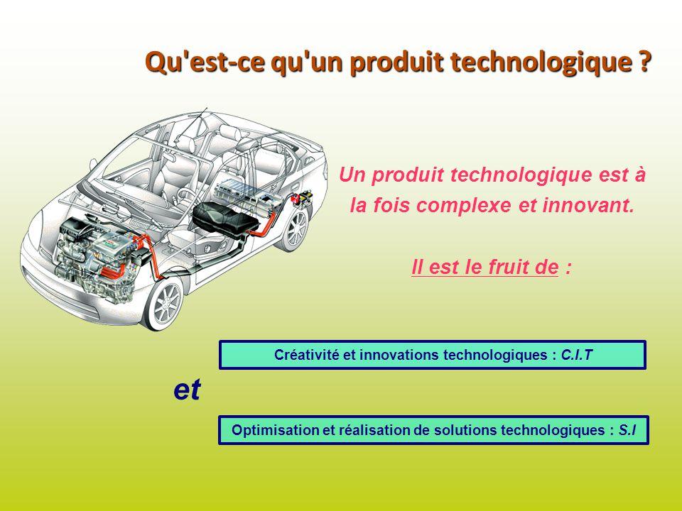 Qu'est-ce qu'un produit technologique ? Un produit technologique est à la fois complexe et innovant. Il est le fruit de : Créativité et innovations te