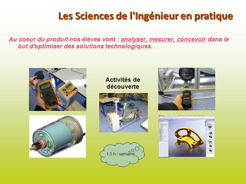 Les Sciences de l'Ingénieur en pratique Au coeur du produit nos élèves vont : analyser, mesurer, concevoir dans le but d'optimiser des solutions techn