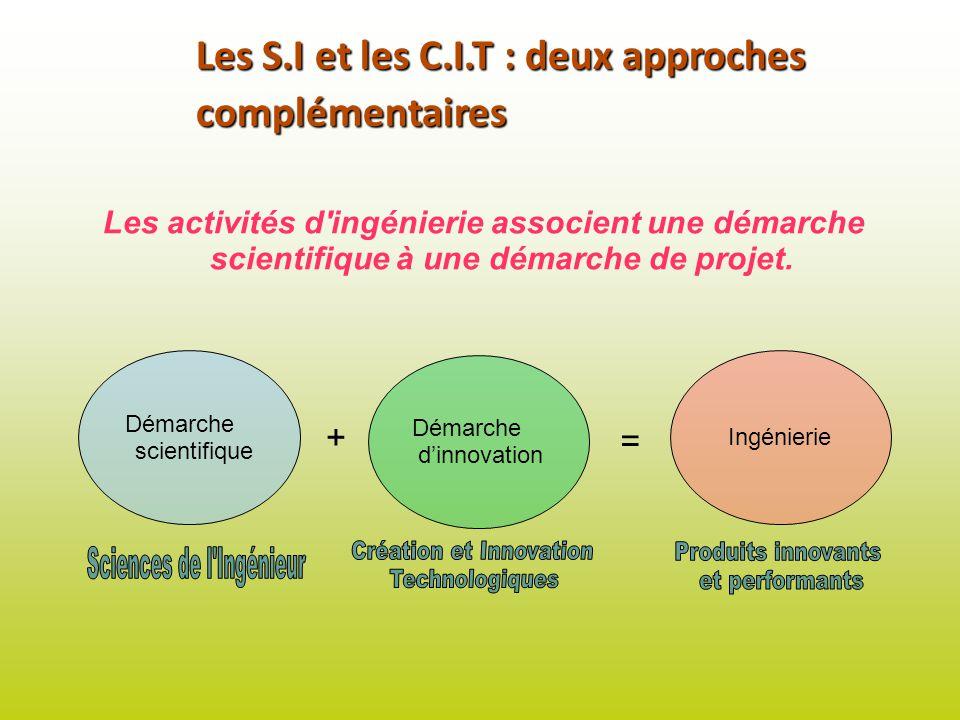 Les S.I et les C.I.T : deux approches complémentaires Les activités d'ingénierie associent une démarche scientifique à une démarche de projet. Démarch