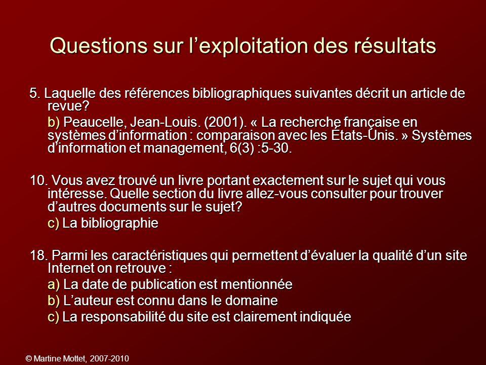 © Martine Mottet, 2007-2010 Questions sur lexploitation des résultats 5. Laquelle des références bibliographiques suivantes décrit un article de revue