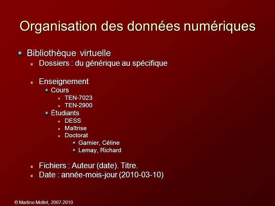 © Martine Mottet, 2007-2010 Organisation des données numériques Bibliothèque virtuelle Dossiers : du générique au spécifique Dossiers : du générique a