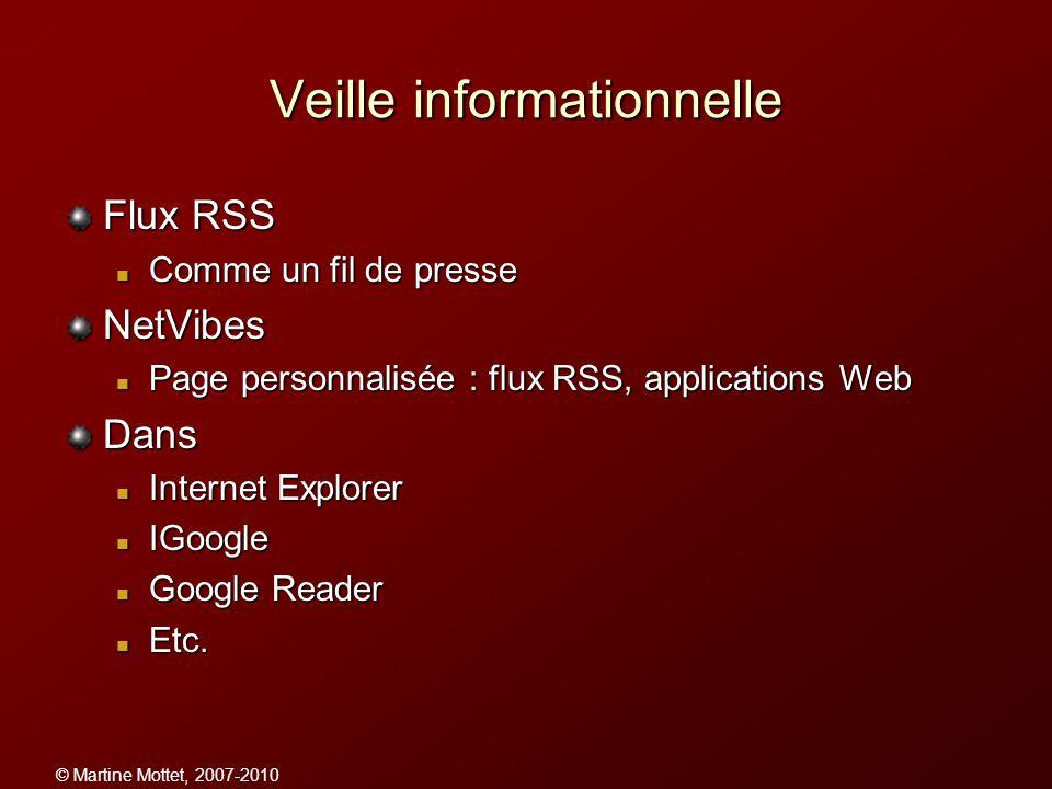© Martine Mottet, 2007-2010 Veille informationnelle Flux RSS Comme un fil de presse Comme un fil de presseNetVibes Page personnalisée : flux RSS, appl