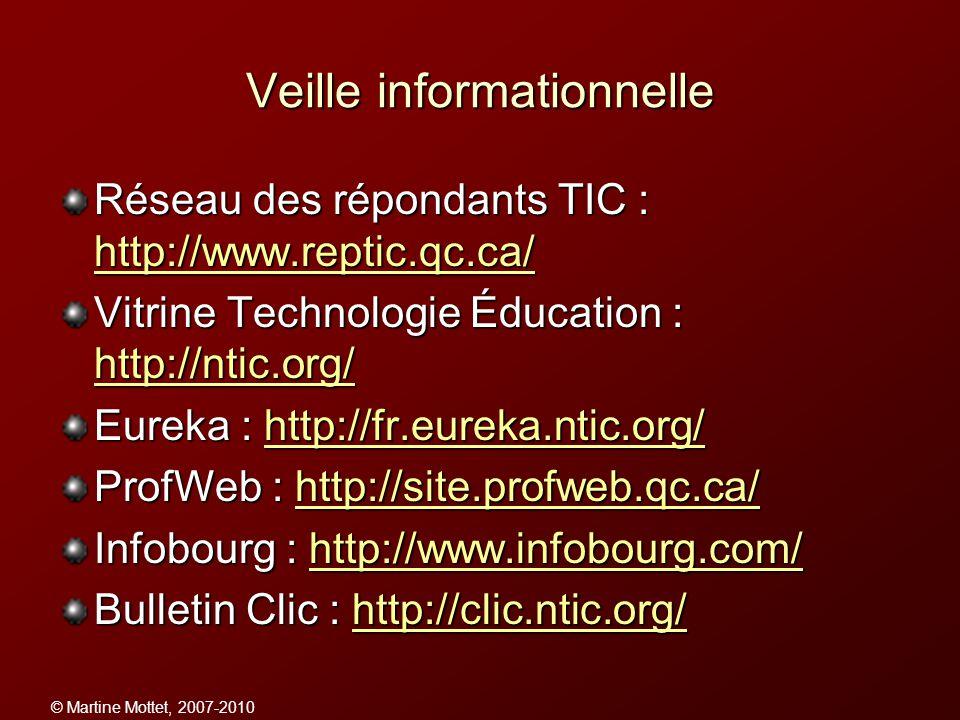 © Martine Mottet, 2007-2010 Veille informationnelle Réseau des répondants TIC : http://www.reptic.qc.ca/ http://www.reptic.qc.ca/ Vitrine Technologie