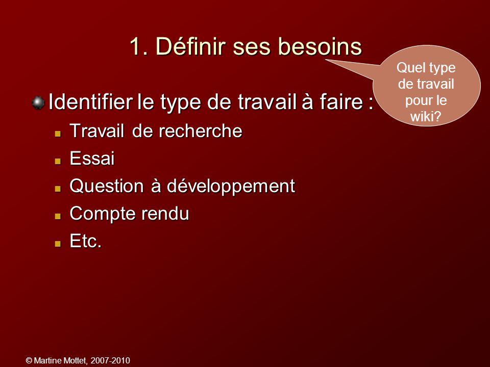 © Martine Mottet, 2007-2010 1. Définir ses besoins Identifier le type de travail à faire : Travail de recherche Travail de recherche Essai Essai Quest