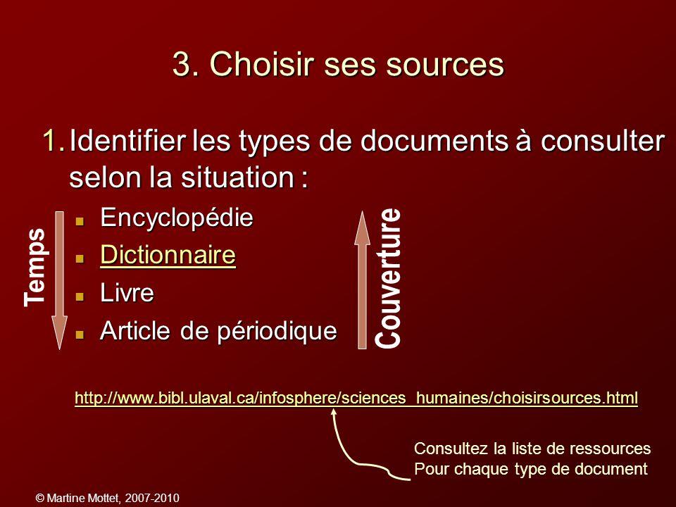 © Martine Mottet, 2007-2010 3. Choisir ses sources 1.Identifier les types de documents à consulter selon la situation : Encyclopédie Encyclopédie Dict