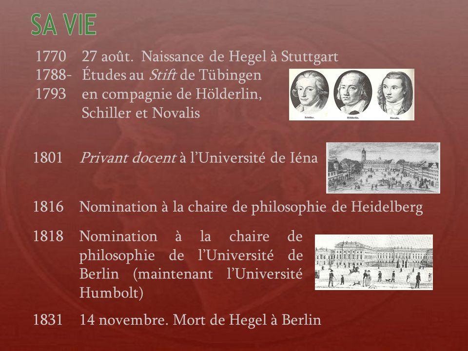 1821Principes de la philosophie du droit 1807La phénoménologie de lesprit 1812 et La science de la logique en 3 vol.