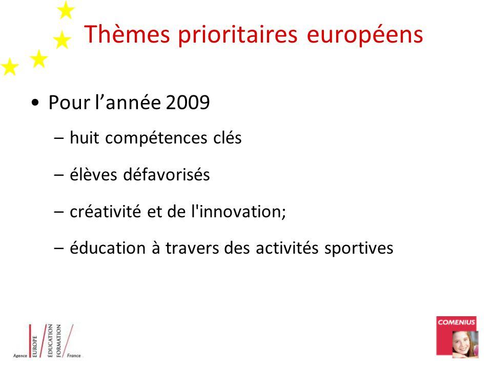 Thèmes prioritaires européens Pour lannée 2009 –huit compétences clés –élèves défavorisés –créativité et de l innovation; –éducation à travers des activités sportives