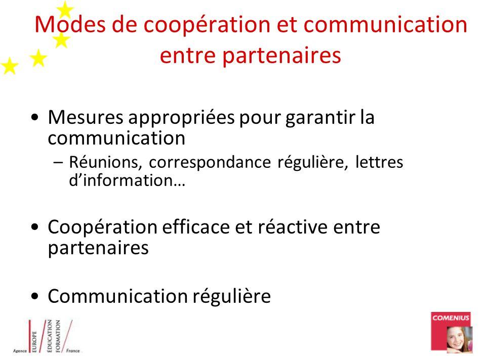 Modes de coopération et communication entre partenaires Mesures appropriées pour garantir la communication –Réunions, correspondance régulière, lettre