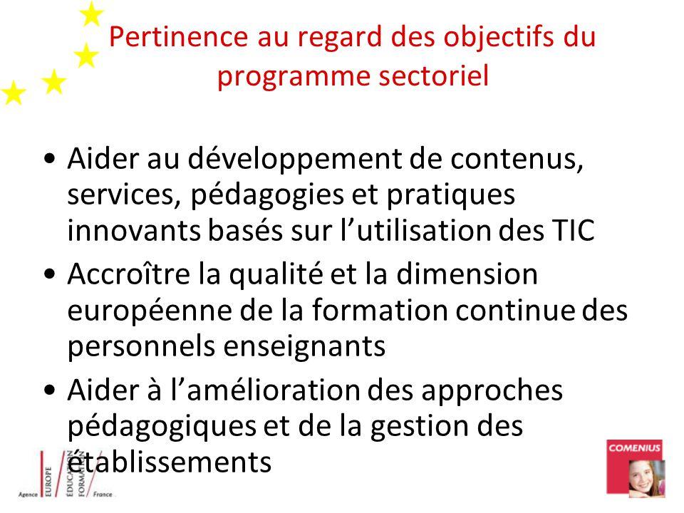 Pertinence au regard des objectifs du programme sectoriel Aider au développement de contenus, services, pédagogies et pratiques innovants basés sur lu