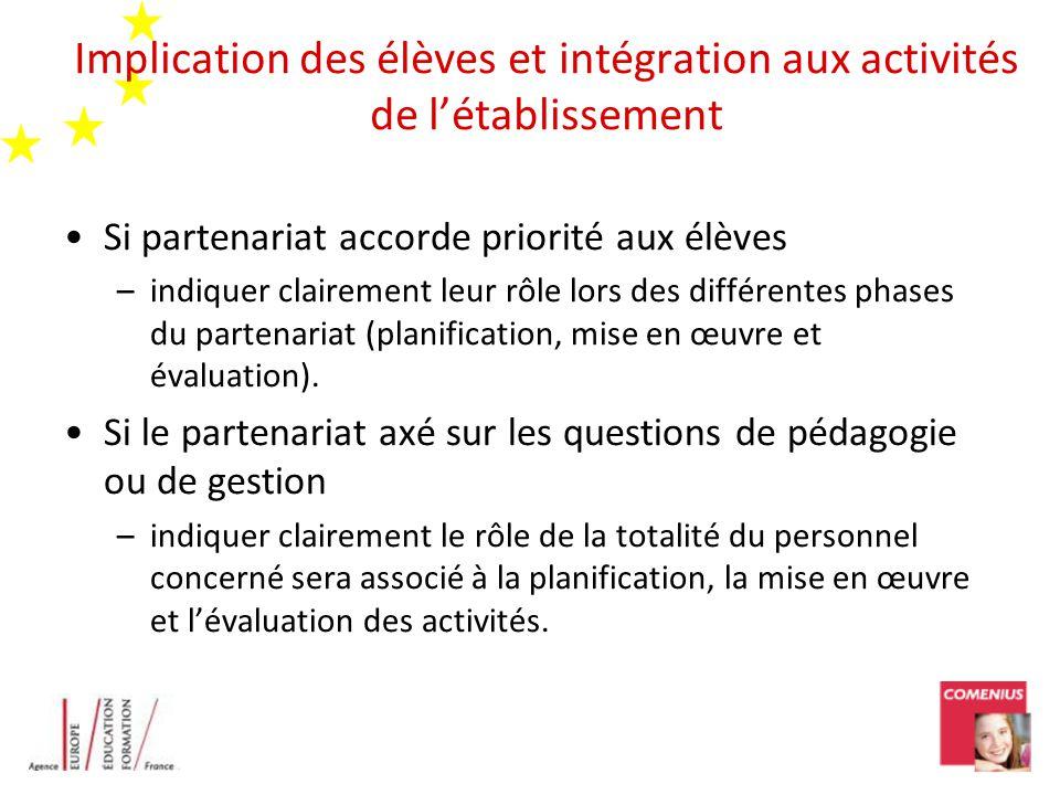 Implication des élèves et intégration aux activités de létablissement Si partenariat accorde priorité aux élèves –indiquer clairement leur rôle lors des différentes phases du partenariat (planification, mise en œuvre et évaluation).
