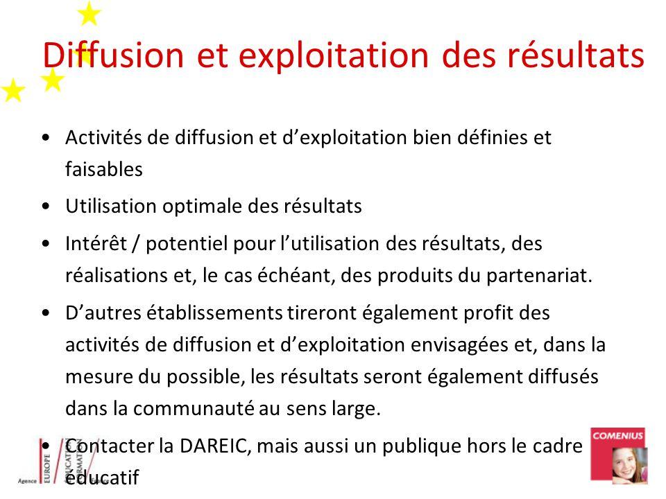 Diffusion et exploitation des résultats Activités de diffusion et dexploitation bien définies et faisables Utilisation optimale des résultats Intérêt