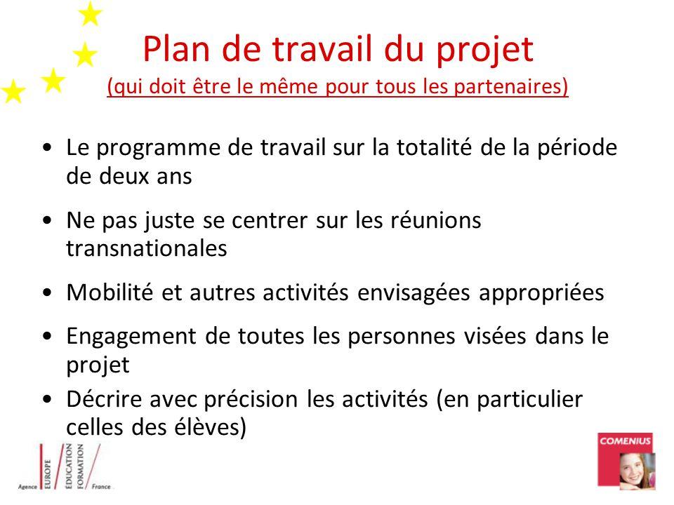 Plan de travail du projet (qui doit être le même pour tous les partenaires) Le programme de travail sur la totalité de la période de deux ans Ne pas j