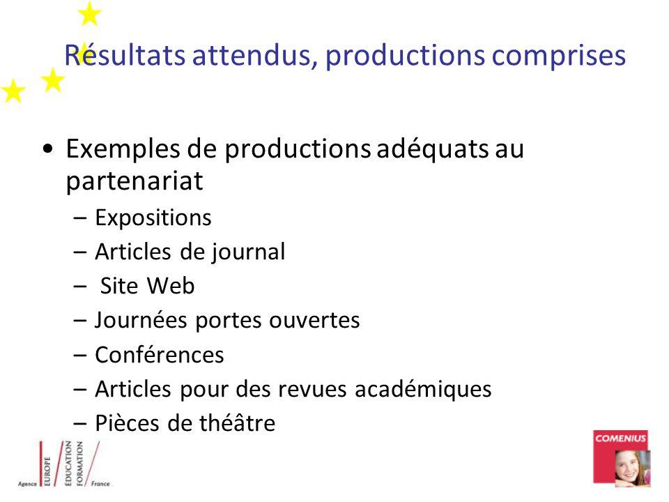 Résultats attendus, productions comprises Exemples de productions adéquats au partenariat –Expositions –Articles de journal – Site Web –Journées porte