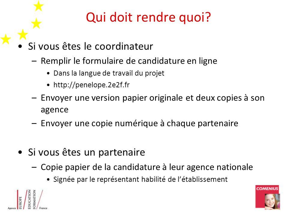 Qui doit rendre quoi? Si vous êtes le coordinateur –Remplir le formulaire de candidature en ligne Dans la langue de travail du projet http://penelope.