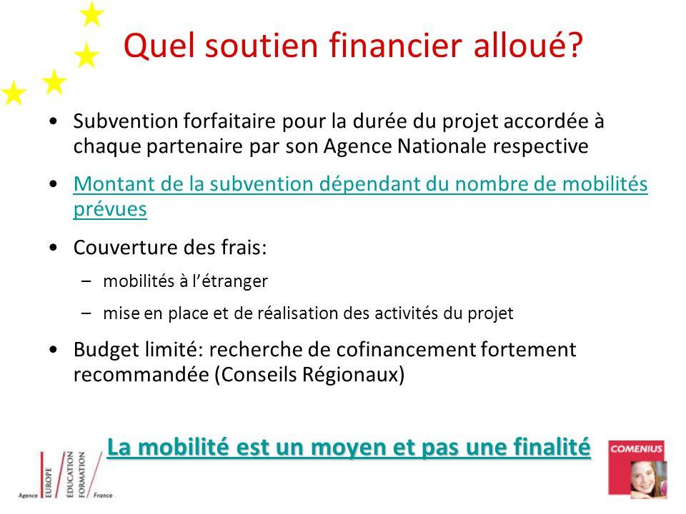 Quel soutien financier alloué? Subvention forfaitaire pour la durée du projet accordée à chaque partenaire par son Agence Nationale respective Montant