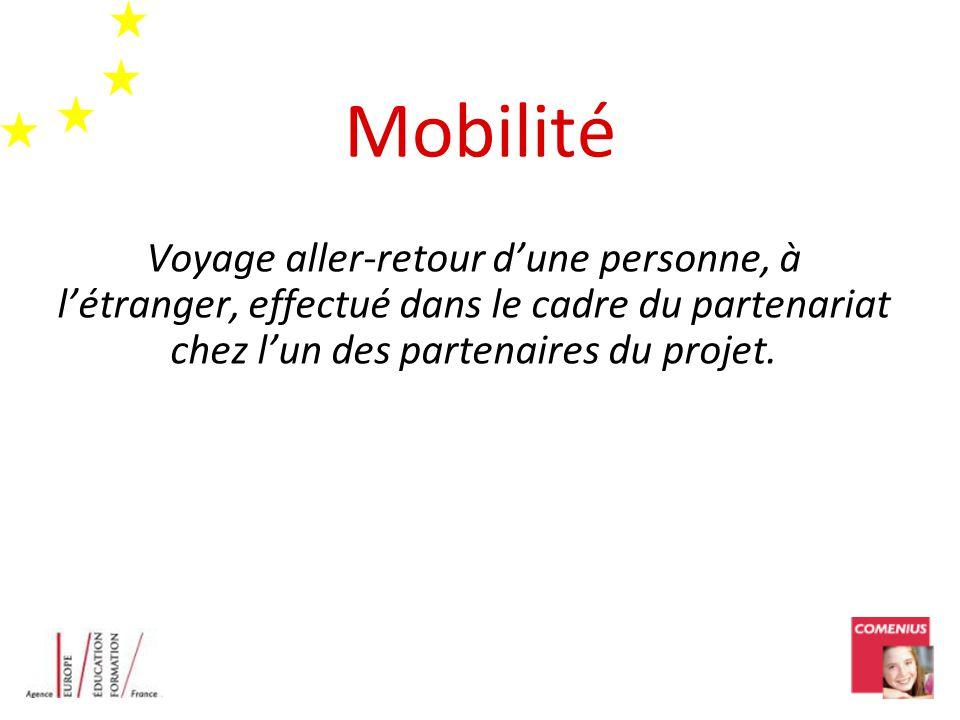 Mobilité Voyage aller-retour dune personne, à létranger, effectué dans le cadre du partenariat chez lun des partenaires du projet.