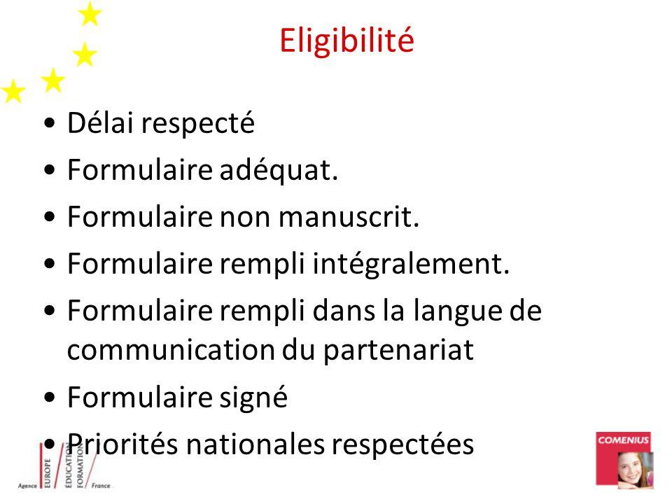 Eligibilité Délai respecté Formulaire adéquat. Formulaire non manuscrit.