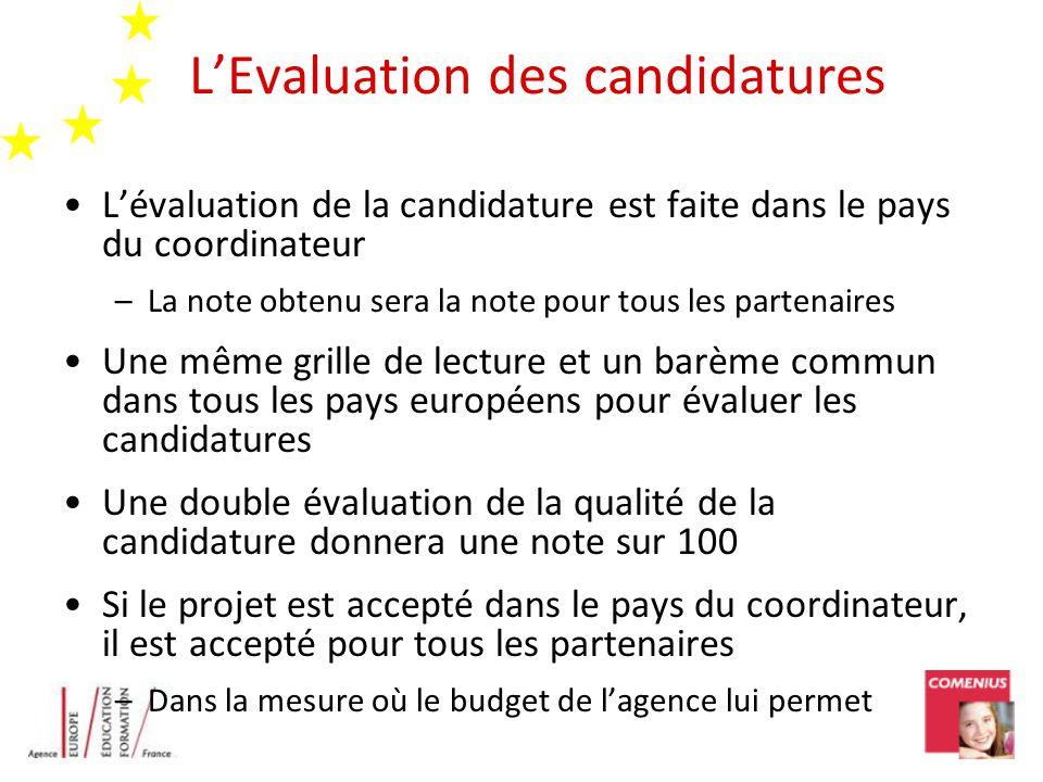 LEvaluation des candidatures Lévaluation de la candidature est faite dans le pays du coordinateur –La note obtenu sera la note pour tous les partenair