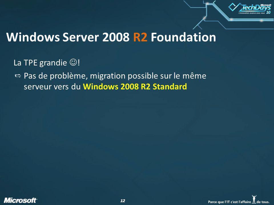 12 Windows Server 2008 R2 Foundation La TPE grandie ! Pas de problème, migration possible sur le même serveur vers du Windows 2008 R2 Standard