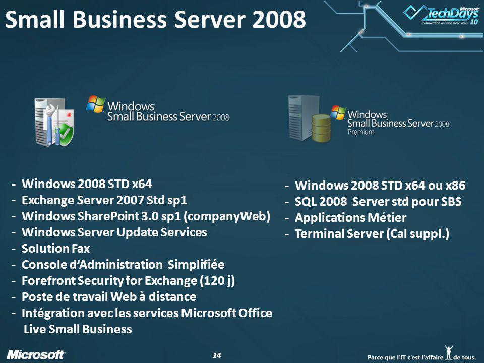 14 - Windows 2008 STD x64 - Exchange Server 2007 Std sp1 - Windows SharePoint 3.0 sp1 (companyWeb) - Windows Server Update Services - Solution Fax - C