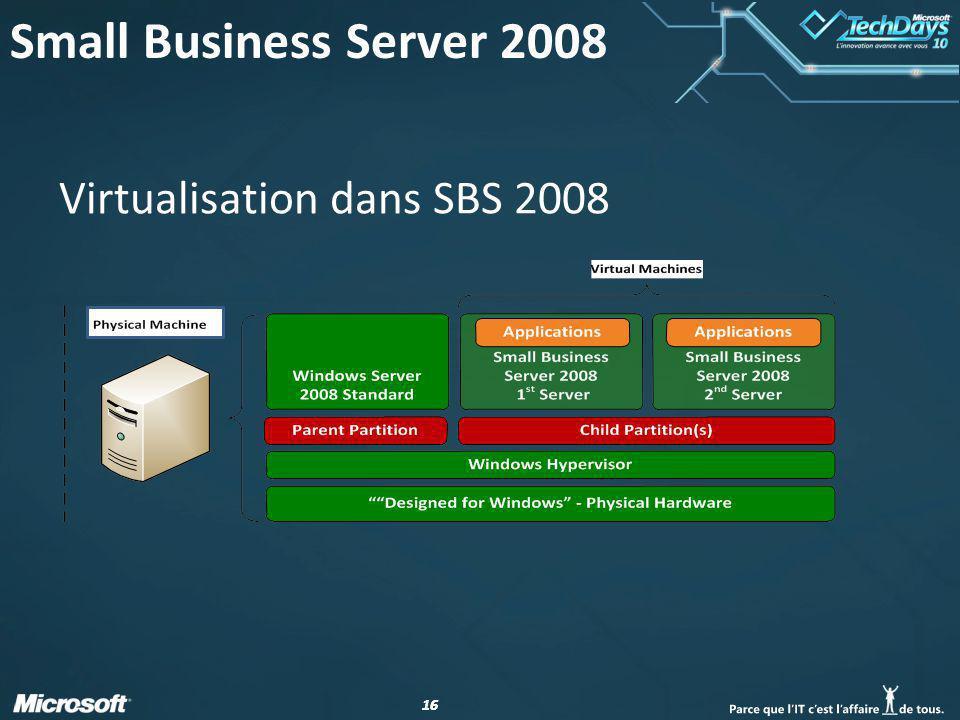 16 Virtualisation dans SBS 2008 Small Business Server 2008