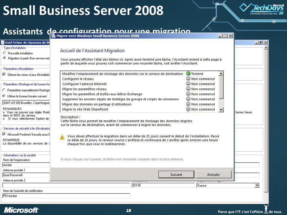 18 Small Business Server 2008 Assistants de configuration pour une migration