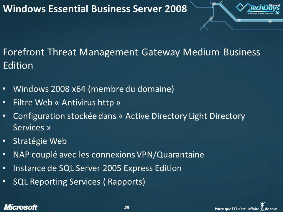 29 Forefront Threat Management Gateway Medium Business Edition Windows 2008 x64 (membre du domaine) Filtre Web « Antivirus http » Configuration stocké