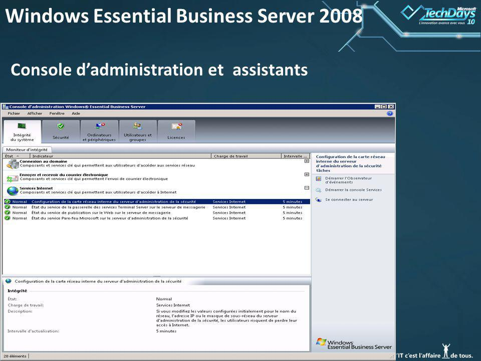 38 Windows Essential Business Server 2008 Console dadministration et assistants