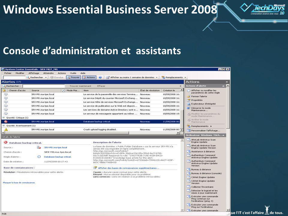 40 Windows Essential Business Server 2008 Console dadministration et assistants