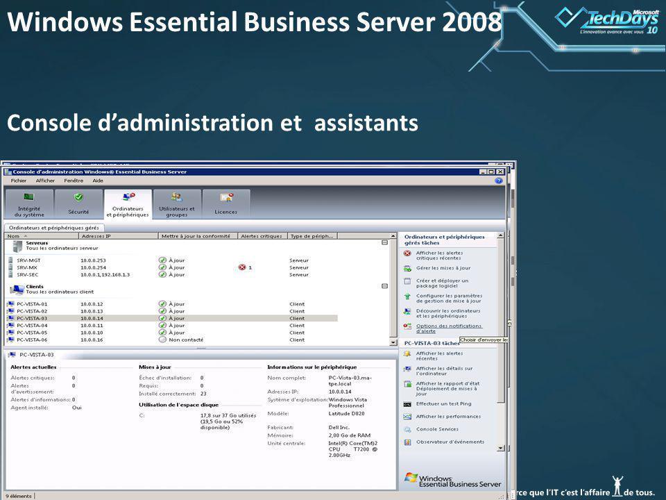 41 Windows Essential Business Server 2008 Console dadministration et assistants
