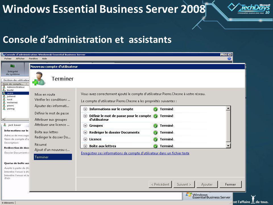 42 Windows Essential Business Server 2008 Console dadministration et assistants