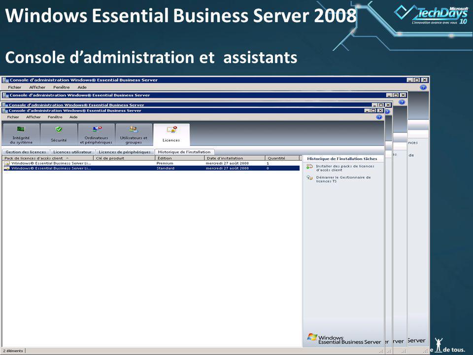 45 Windows Essential Business Server 2008 Console dadministration et assistants