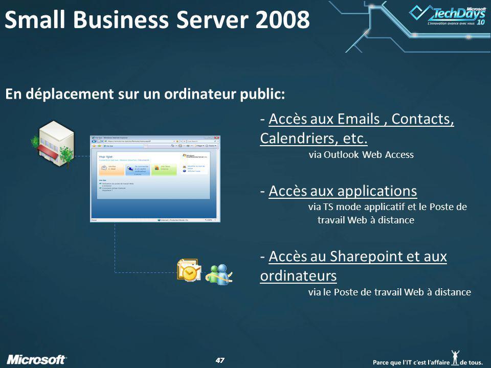 47 En déplacement sur un ordinateur public: - Accès aux Emails, Contacts, Calendriers, etc. via Outlook Web Access - Accès aux applications via TS mod