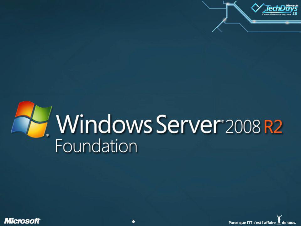 77 Windows Server 2008 R2 Foundation Licence Server < 200 Pas de CAL (hors CAL RDS) Disponible en OEM constructeur (en ROK ou préinstallé)