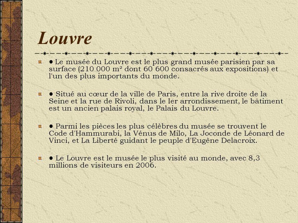 Louvre Le musée du Louvre est le plus grand musée parisien par sa surface (210 000 m² dont 60 600 consacrés aux expositions) et l'un des plus importan