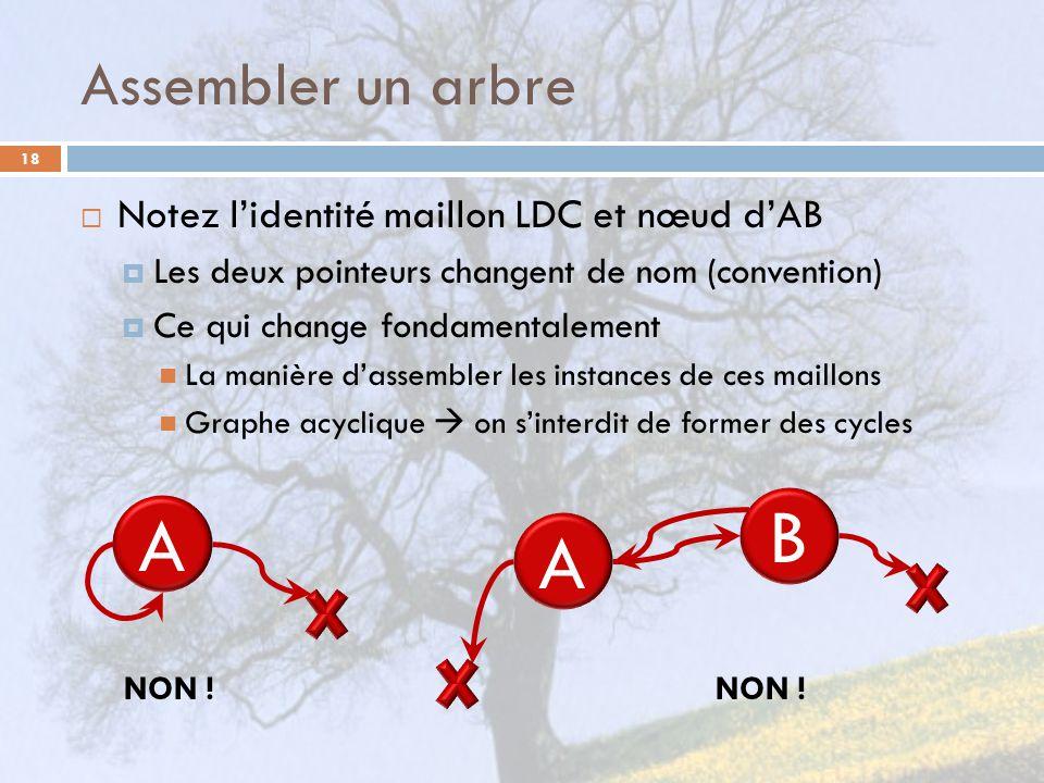 Assembler un arbre 18 Notez lidentité maillon LDC et nœud dAB Les deux pointeurs changent de nom (convention) Ce qui change fondamentalement La manièr